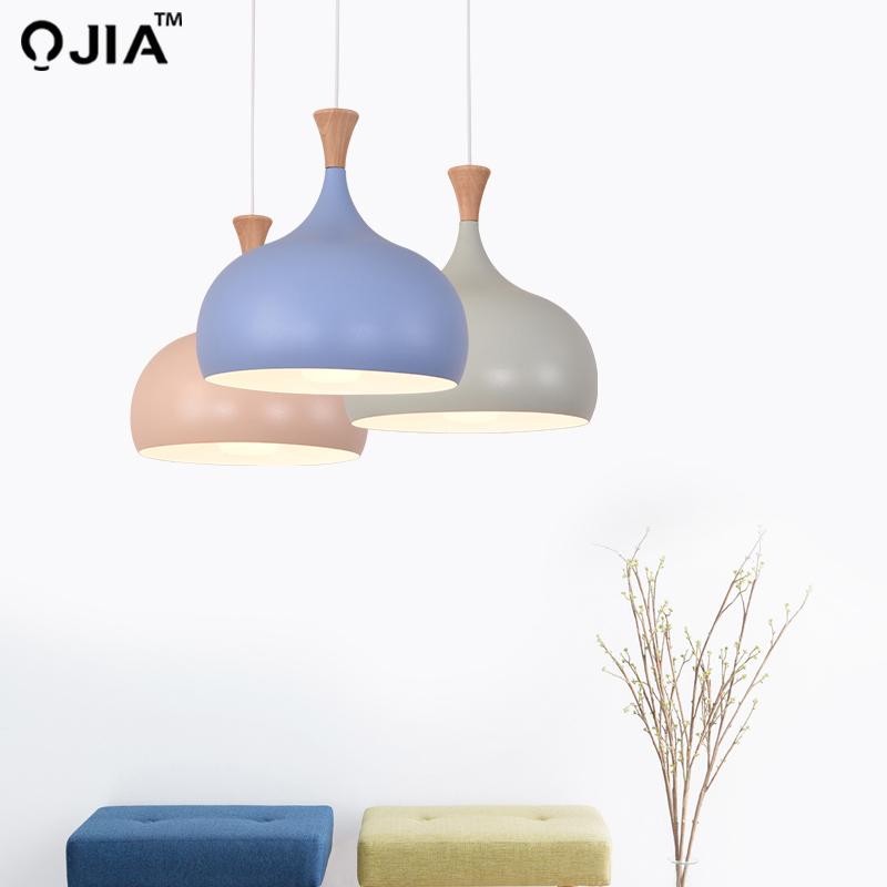 Pendant Light Simple Design For Dining Kitchen blue pink green lampshade Metal Hanging Lamp Restaurant Luminaria Light Fixture