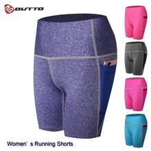 Outto Women's Compression Shorts with Pockets Fitness High Waist Quick Dry Gym Workout Shorts navy random floral print back zipper high waist shorts with pockets