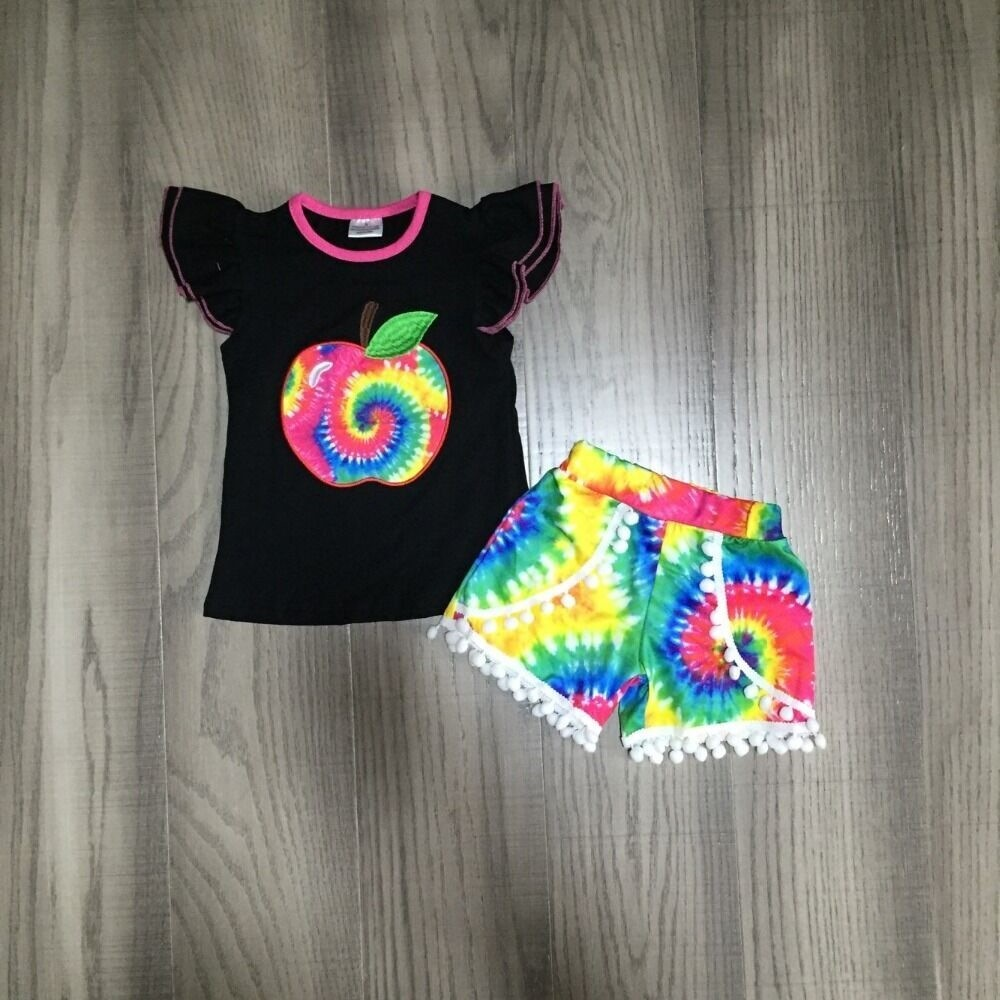 Baby Girls Summer Back To School Outfits Tie Dye Apple Shirt With Tie-dyed Shorts