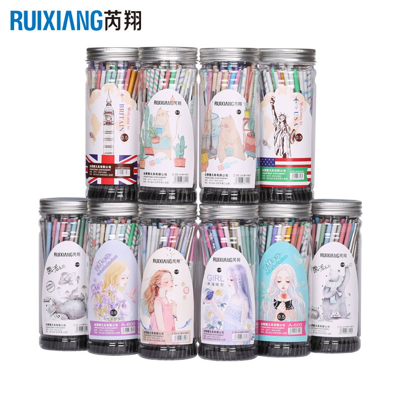 80pcs/jar <font><b>Gel</b></font> <font><b>Pen</b></font> <font><b>Refill</b></font> Ruixiang 0.28/0.38/0.5mm <font><b>Needle</b></font> Tip Bullet Tip Netural <font><b>Refills</b></font> Korean Kawaii Stationery School supplies image