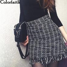 Colorfaith 2021 Spring Summer Women Woolen Mini Skirt In A Cage Vintage Plaid Tassel Skater High Waist Checkered Skirt SK5583