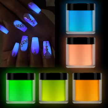 Neonowy fosforyzujący proszek fluorescencyjny proszek do paznokci proszek do zanurzania paznokci pył Luminous Pigment błyszczyki do paznokci świecące w ciemności tanie i dobre opinie NIANLEN CN (pochodzenie) grow in dark DIP Akryl i cieczy Acrylic powders 18G(with box) Dipping Nail Powder Luminous Powder