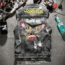 Mens Jacket Garment Sleeveless Embroidery Eagle Denim Vest Jean Young Cowboy Streetware Ropa De Hombre Coat Spring and Autumn
