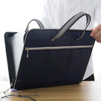 Płótno biurowe i teczka skórzana 12 warstw rozszerzający się portfel organizer do dokumentów folder A4 36x28cm o dużej pojemności tanie i dobre opinie Rozszerzenie portfel 36*28cm Skórzane A092 Black Blue Gray 500g Canvas And Leather Office School file organizer