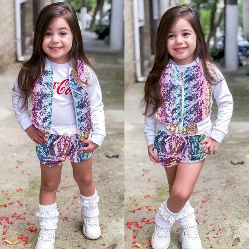 <font><b>Sequin</b></font> Patchwork Zipper <font><b>Bomber</b></font> Coat Toddler <font><b>Kids</b></font> Baby Girl Clothes Tops <font><b>Jacket</b></font> Shorts Autumn Fashion Chic Outfits Clothes 1-7T image