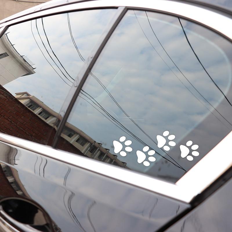 12.8cm*12.5cm Animal Cat Paw Print Funny Vinyl Decal Motorcycle Car Sticker Black/Silver S6-3810