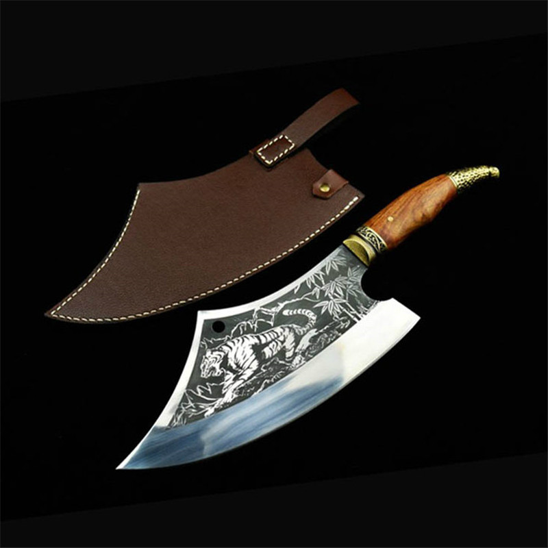 New Household Hand Forged Cleaver Knives Sliced Chopping Knife Hand made Sharp Arc Chef Kitchen Knife Accessories with PU Cover