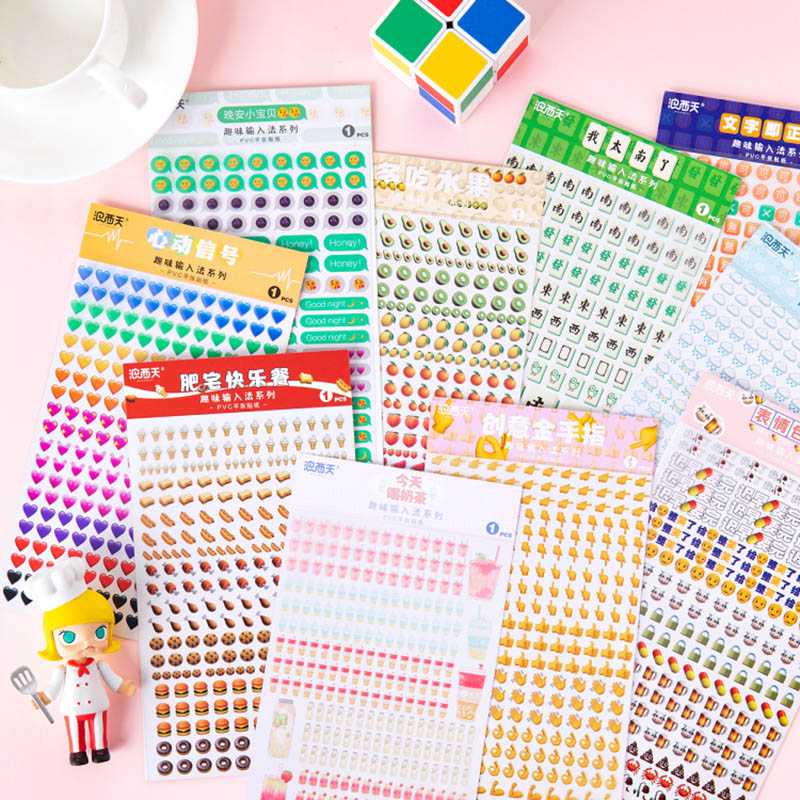 1Sheet Kawaii Expression Stickers Cute Decor Stationery Stickers Paper Adhesive Sticker For Kids Scrapbooking Diary Supplies