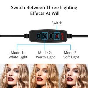 Image 3 - Dimbare Led Selfie Ring Licht Camera Telefoon Usb Ring Lamp Fotografie Licht Vullen Met Telefoon Houder Stand Voor Make Live streamen