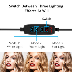 Image 3 - Dimmable LED Selfie Ring Light Camera Phone USB ring lamp Photography Fill Light with Phone Holder Stand For Makeup Live Stream