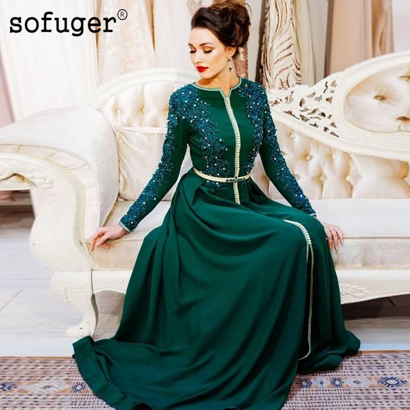 Green Muslim Moroccan Kaftan Mother Of The Bride Dresses Appliques Dubai Saudi Vestido De Renda Mother Suit Long Sleeves