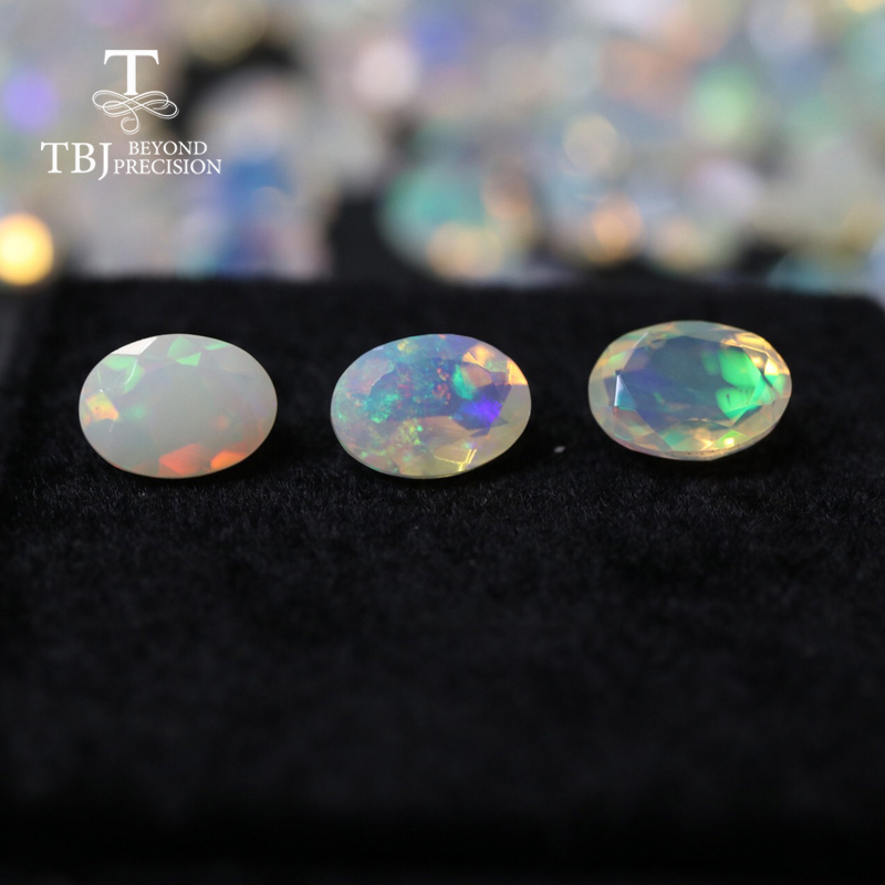 Natural ethiopian colorful cuting opal oval 5*7mm top quality natural precious gemstones for 925 sterling silver jewelry