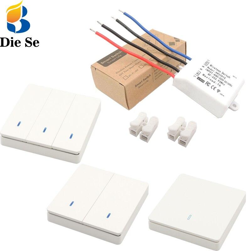 Interruptor universal sem fio 433mhz, controlador inteligente lmapa/led/receptor de relé rf ac85v ~ 265v placa e interruptor de parede