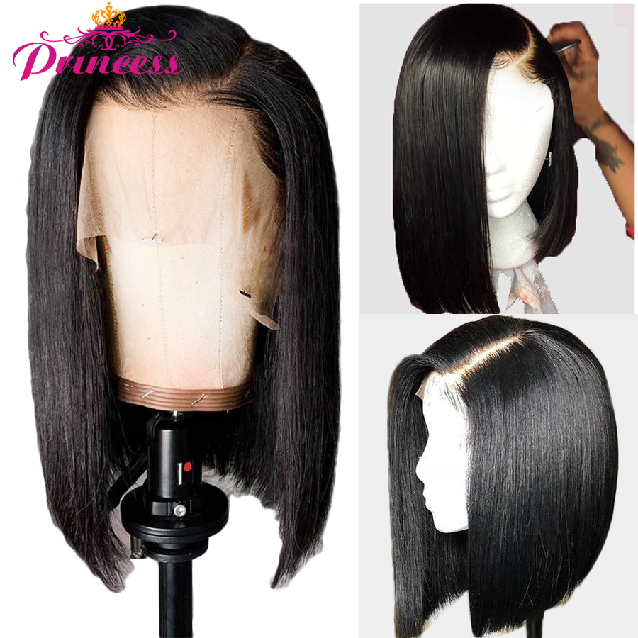Human-Hair-Wigs Short Lace-Frontal Straight Bob Remy Princess Women Brazilian 150%Density