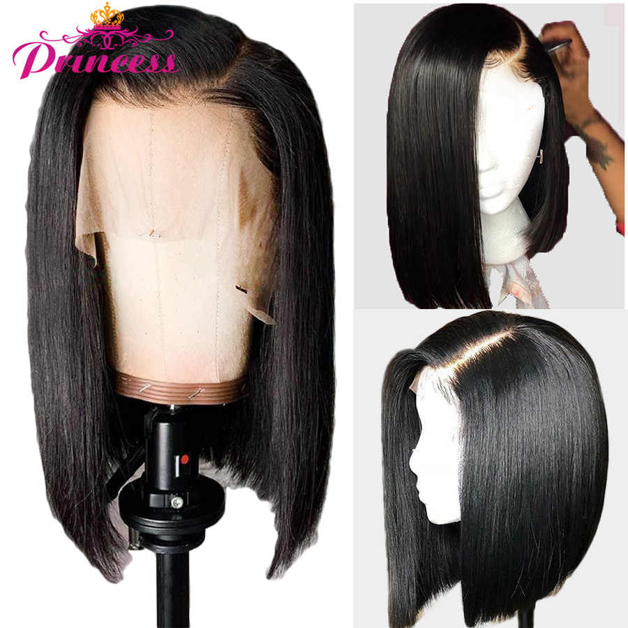 13x5 Short Lace Front Human Hair Wigs 150% Density Brazilian Straight Bob Lace Frontal Wig For Women Remy Princess Hair Wigs