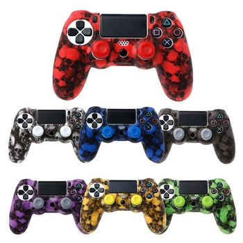 silicone cover skin for dualshock 4 ps4 pro slim controller case and thumb grips caps for play station 4 game accessories 2020 ilicone Camo Protective Skin Case For Sony Dualshock 4 PS4 DS4 Pro Slim Controller Thumb Grips Joystick Caps