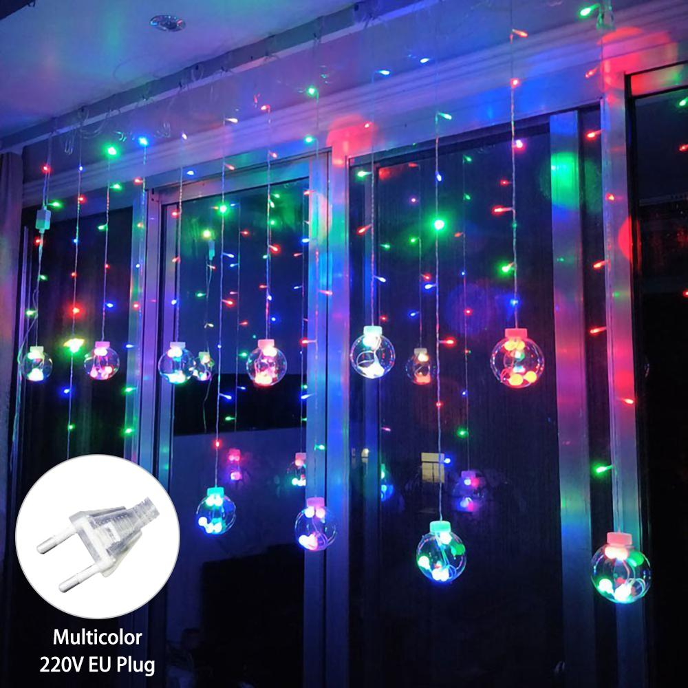 2.5m 12 Ball Wishing Ball Curtain Light String Christmas Decorations For  New Year Decoration Xmas Tree Decorations