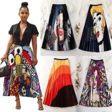 Летние женские юбки s, новинка, с рисунком из мультфильма, завышенная эластичная Женская юбка миди, большие качели, вечерние, для отдыха, высокая уличная