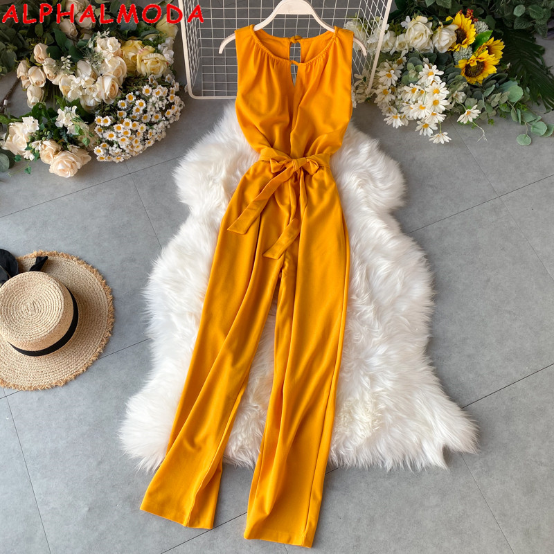 ALPHALMODA 2020 New Sleeveless Solid Casual Jumpsuit Halter Neck Sexy Stretchy Waist Ladies Fashion Jumpsuit
