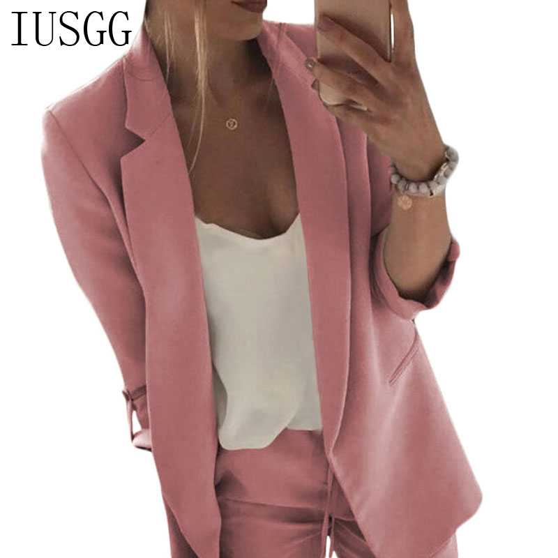 Autumn Spring Fashion Tops Women Blazer Office Lady Jacket Pink Casual Coat Button Bussiness Notched Pocket Ouertwear Notched