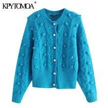 Kpytomoa Vrouwen 2021 Fashion Faux Pearl Knoppen Pom Pom Gebreide Vest Trui Vintage Lange Mouw Vrouwelijke Bovenkleding Chic Tops
