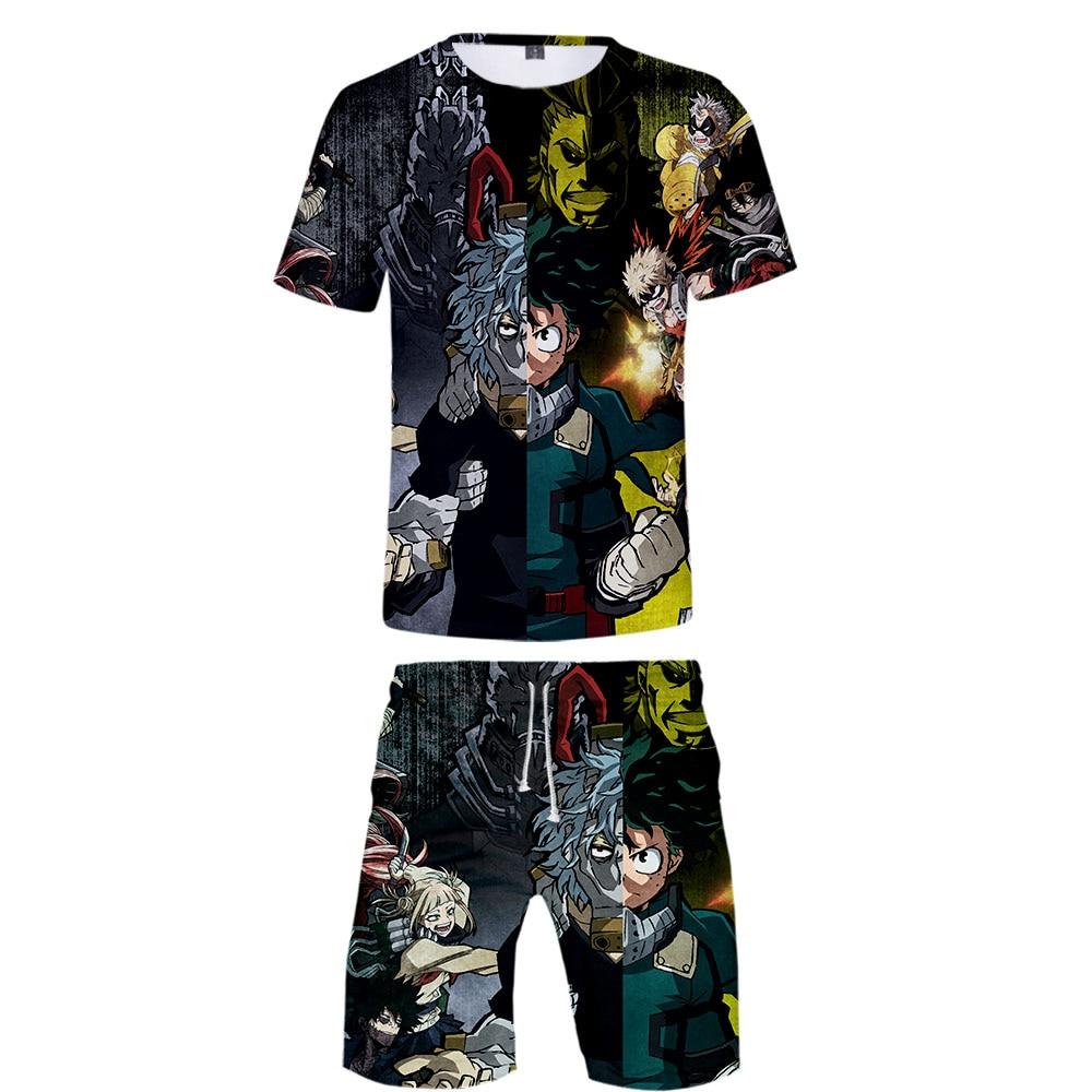 2019 My Hero Academia Two Piece Set Tshirt And Shorts Harajuku Men My Hero Academia T Shirt Streetwear Harajuku Short Sleeve