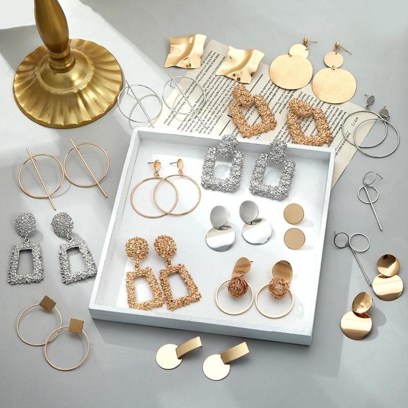 Permalink to Fashion Earrings For Women 2019 Statement Geometric Metal Female Dangle Earrings Trendy Jewelry Accessories
