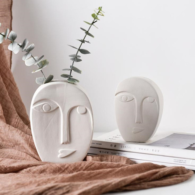 Cutelife White Pottery Ceramics Face Flower Vase Morden Home Decoration Head Glazed Vase Wedding Nordic Tabletop Plant Pot Vase 5