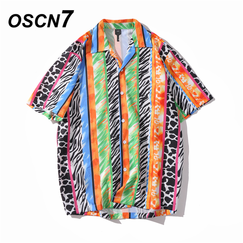 OSCN7 Casual Printed Short Sleeve Shirt Men Street 2020 Hawaii Beach Oversize Women Fashion Harujuku Shirts For Men XQ71