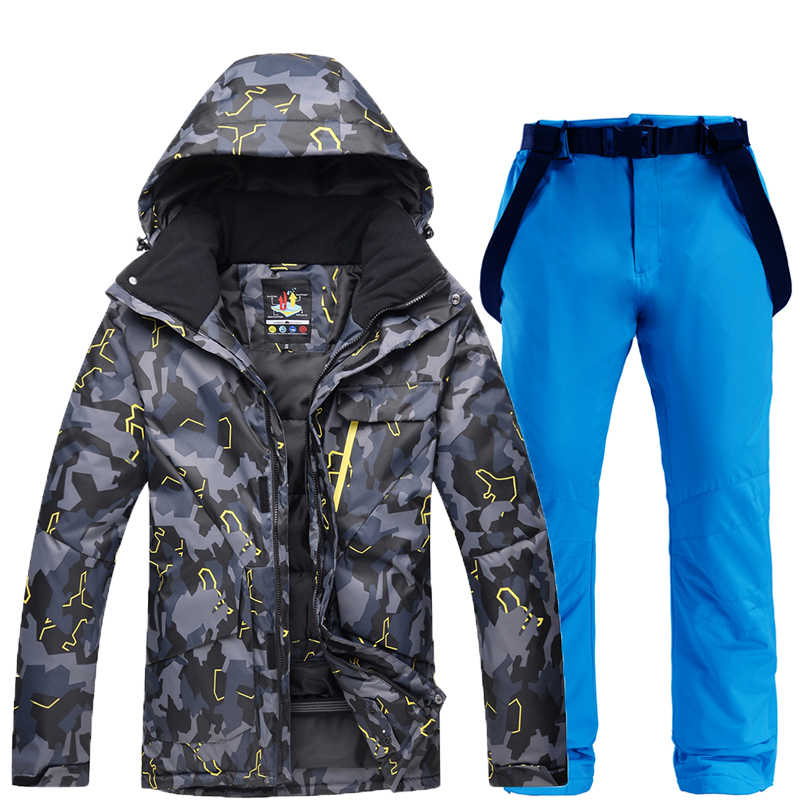 New Winter Ski Suit for Men Warm Windproof Waterproof Camouflage Skiing Suits Snowboarding Set Male Outdoor Ski jacket + Pants