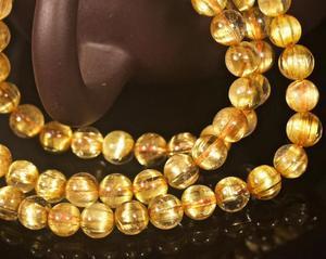 Image 4 - Oro 6 millimetri Top Brasile Naturale Quarzo Rutilato Crystal Clear Rotonda del Branello di Stirata Tre 3 Giri Del Braccialetto Delle Donne di Trasporto di Goccia AAAAA