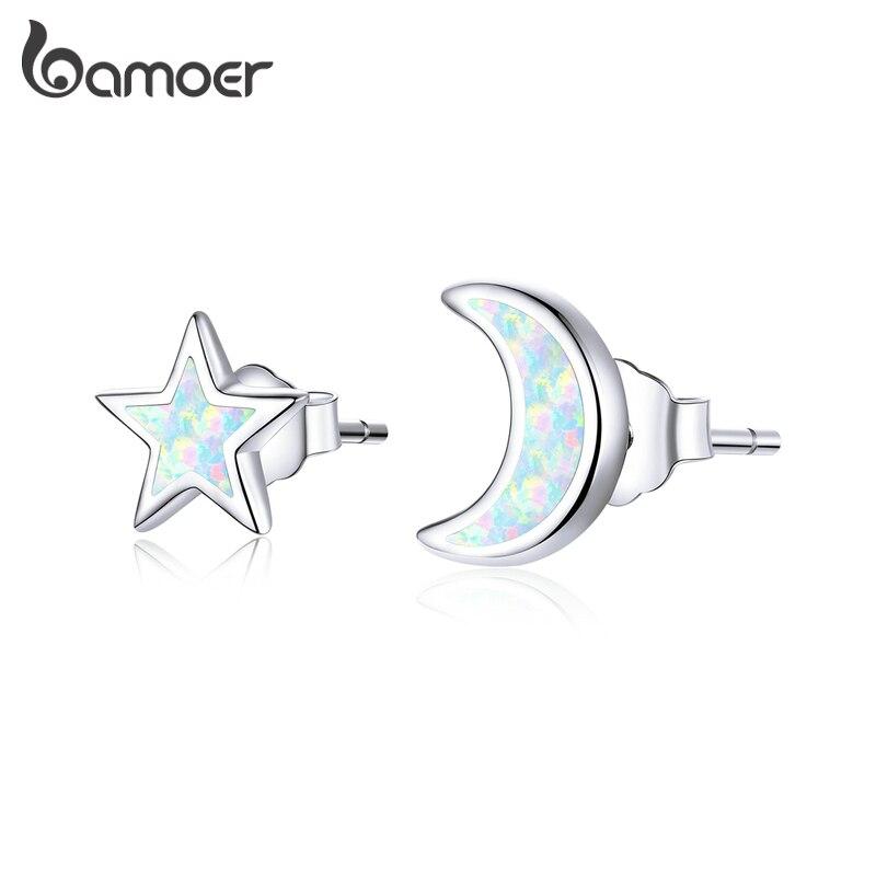 Mond und Stern mit schimmerndem Opal | 925 Ohrstecker 925 Ohrstecker klein Asymmetrisch