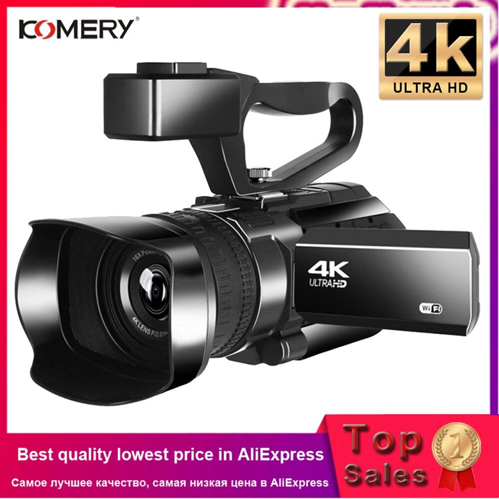 4K видеокамера камкордер KOMERY Цифровая видеокамера Vlogging 3,0 дюймов сенсорный экран ночное видение WiFi камера с микрофоном