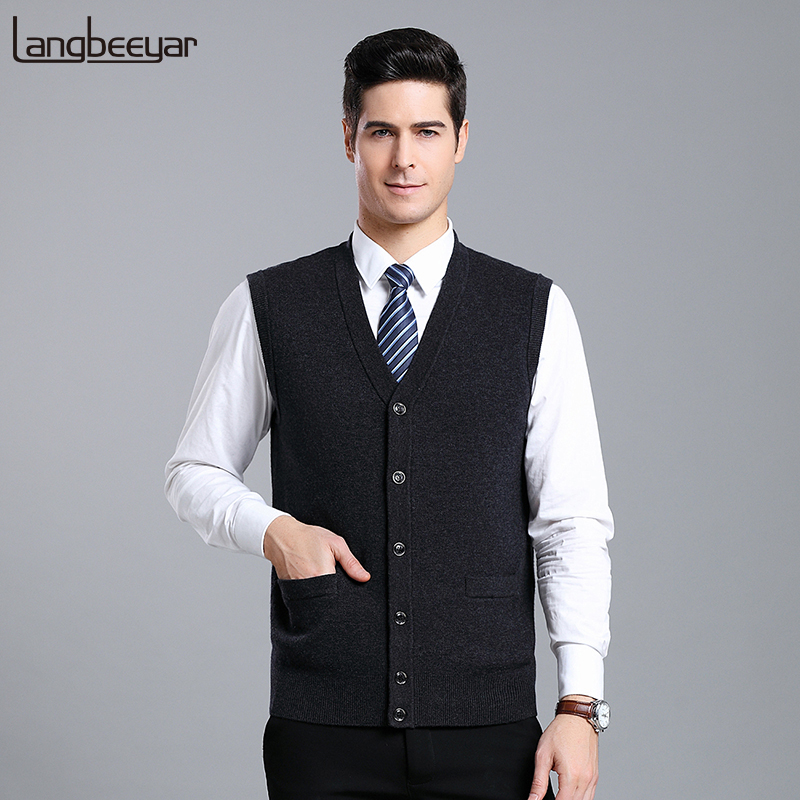 2019 New Fashion Brand Sweaters Men Cardigan V Neck Slim Fit Jumpers Knitwear Vest Sleeveless Winter Casual Clothing Male
