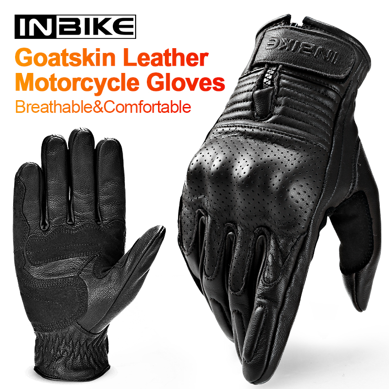 INBIKE Leather Motorcycle Gloves Protective Motocross Gloves Breathable Carbon Fiber All Season Guantes Moto Men Summer