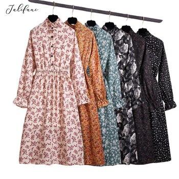 Kobiety w stylu koreańskim jesień Casual Dress Lady koszula z długimi rękawami i kokardką sukienki kobieta w stylu Vintage w groszki drukuj szyfonowa elegancka spódniczka Midi