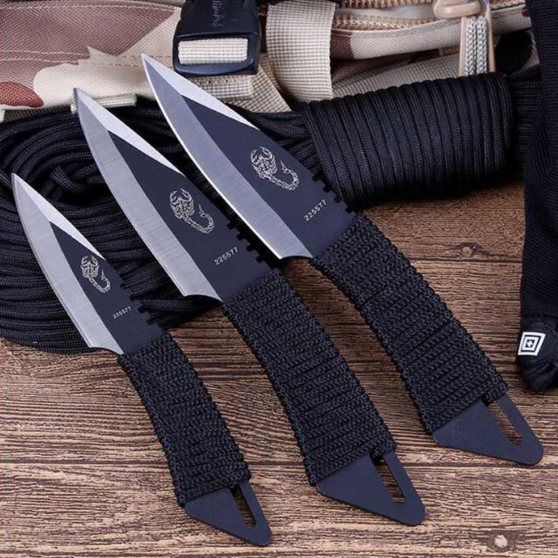 Hot 3pcs Throw Knife Tactical Fixed Blade Pocket Knife Survival Outdoor Hunting Camping Knives Knife Tools With Sheath