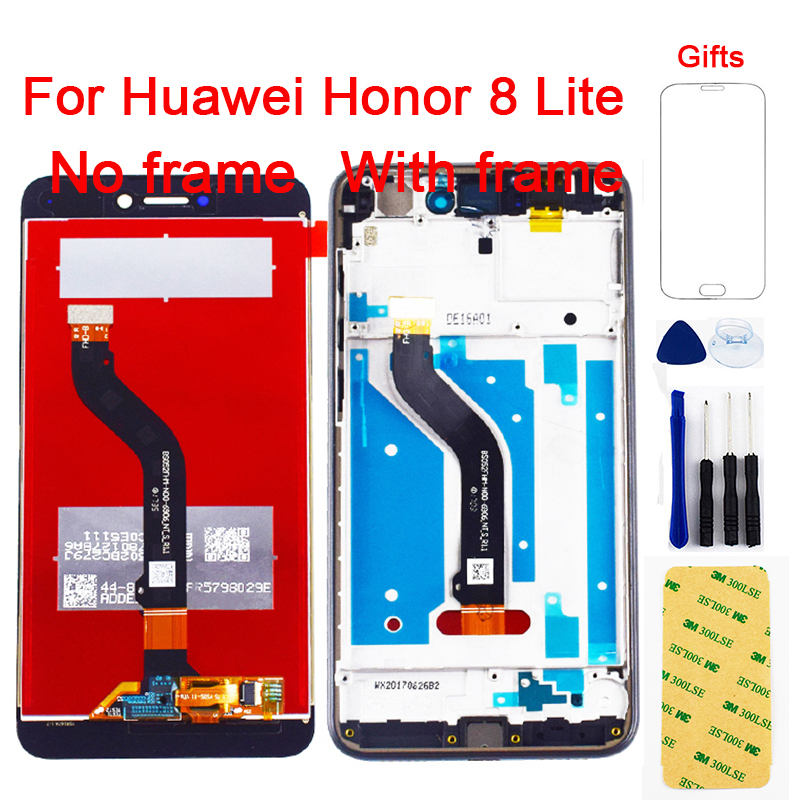 For <font><b>Huawei</b></font> <font><b>Honor</b></font> <font><b>8</b></font> <font><b>Lite</b></font> LCD <font><b>Display</b></font> <font><b>PRA</b></font>-<font><b>TL10</b></font> <font><b>PRA</b></font> LX1 LX3 For <font><b>Honor</b></font> <font><b>8</b></font> <font><b>Lite</b></font> LCD Touch Screen Digitizer Sensor Assembly With Frame image