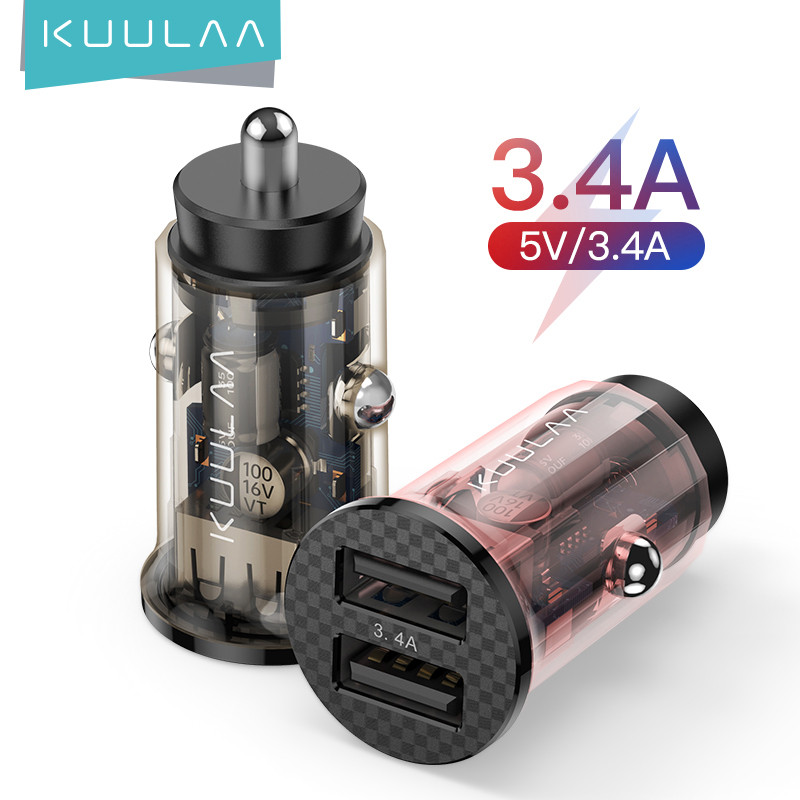 KUULAA Mini USB Car Charger 17W Fast Charging Dual USB Charger For iPhone Huawei Xiaomi Phone Fast Charge Car-Charger Adapter