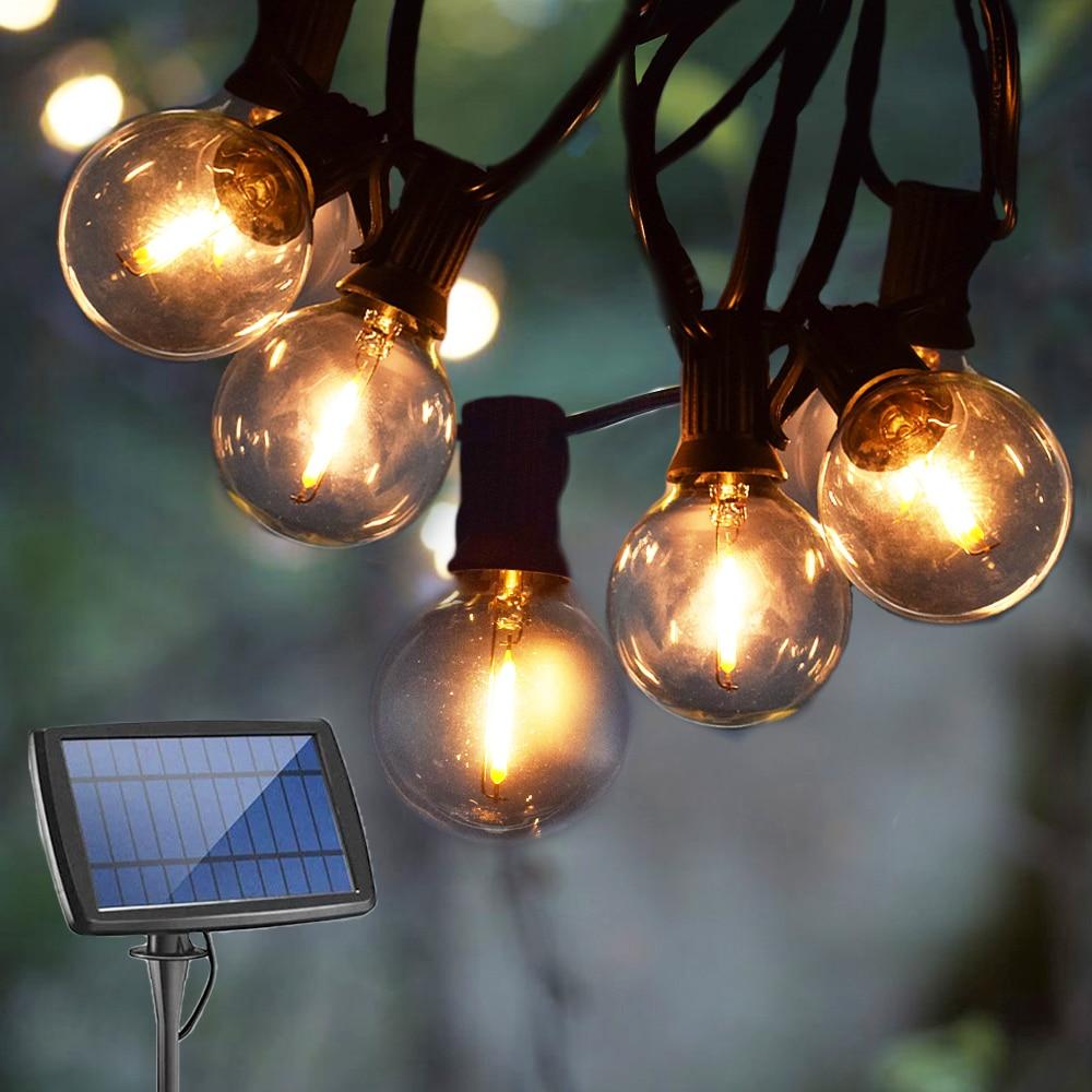 Guirlanda de rua luz solar ao ar livre luz da corda lâmpada led g40 lâmpada solar usb recarregável solar guirlanda decoração do jardim