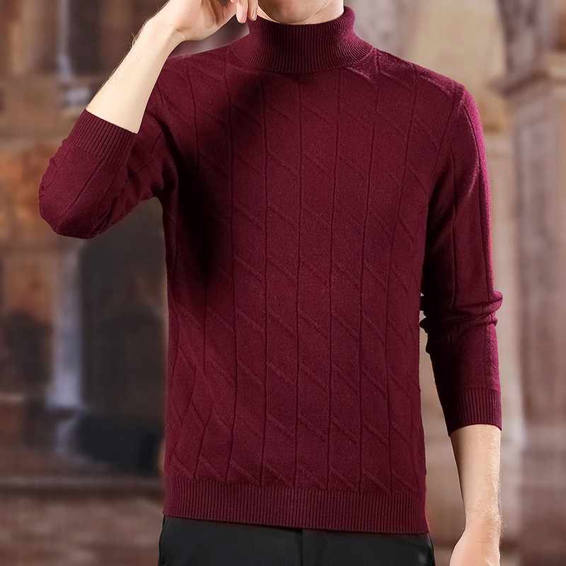 100% Wool Fashion Sweaters Mens Pullovers Turtleneck Slim Fit Jumpers Knitwear Jacquard Winter Korean Style Casual Clothing Men