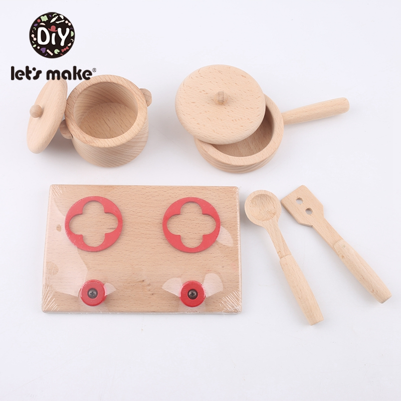 1 Set Beech Kitchenware Toys Teether BPA Free Wooden Teething Interactive Toys Baby Home Toys Safe And Natural Baby Teether-in Wood DIY Crafts from Home & Garden
