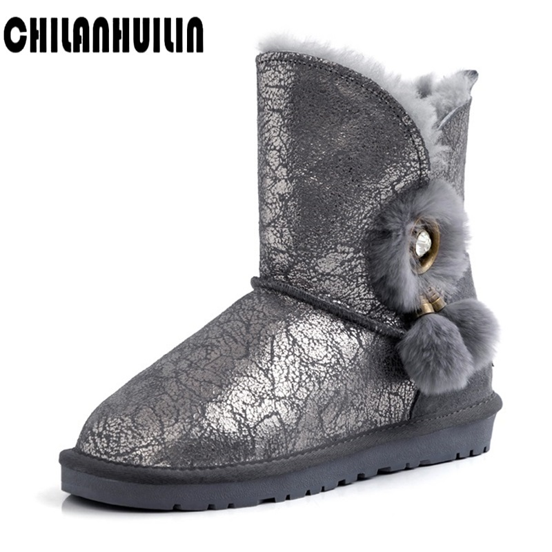 new women's snow boots winter suede leatehr fur ankle boot female bowtie warmer plush rubber flat fashion platform casual shoes