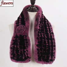 Gran oferta 2020 bufanda de piel de conejo Rex auténtica para mujer 100% bufanda de piel de conejo Rex suave Natural bufanda de piel de conejo Rex tejida a la moda para mujer