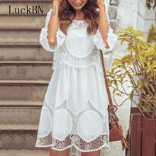 Plus Size S-6XL Women Dress Autumn Flowers Hook White O-neck Half Sleeve Lace Dress Spring Summer Beach Dresses Vestidos цена