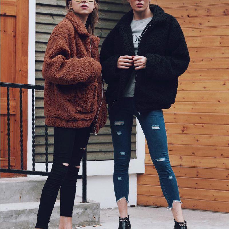 Elegant Faux Fur Coat Women 18 Autumn Winter Warm Soft Zipper Fur Jacket Female Plush Overcoat Pocket Casual Teddy Outwear 6