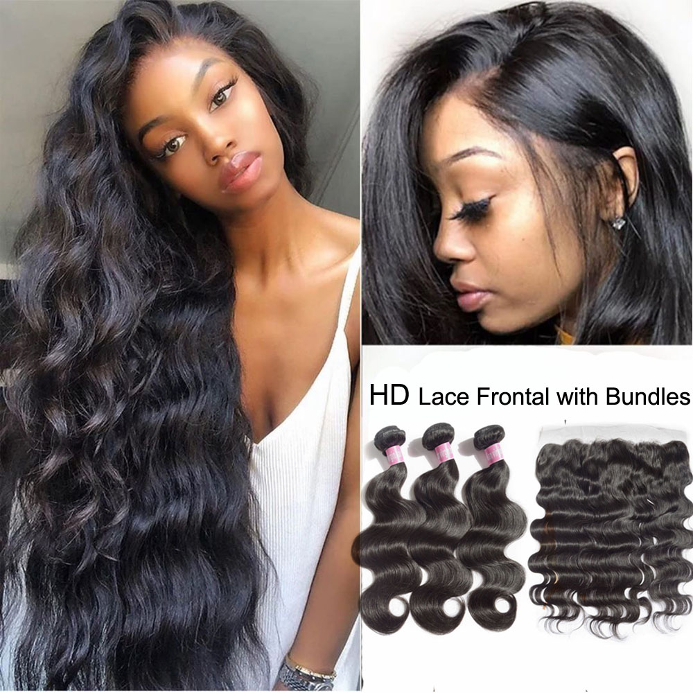 Fabwigs HD Lace Frontal And Bundles Body Wave Bundles With Frontal Brazilian Hair Weave Bundles With Closure HD Frontal 30inch