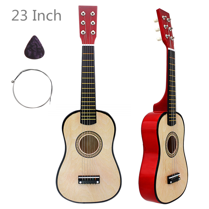 23 Inch 6 Strings Basswood Acoustic Guitar Wood Guitar Music Instrument for Guitar Music Lovers Gift with Guitar Pick + String image