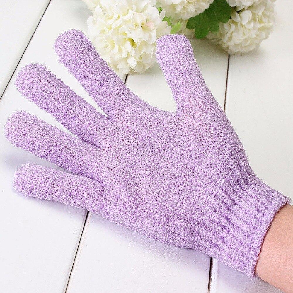 Милый 1шт скрабер скольжение сопротивление тело массаж отшелушивание губка перчатки душ отшелушивание ванна аксессуары перчатки