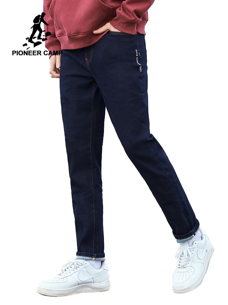 Pioneer Camp Dark Blue Jeans Men Winter Thick Cotton Straight Pockets Causal Mens Jeans Streetwear ANZ901756